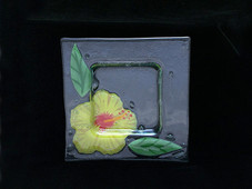 Yellow Hibiscus Glass plate - 8 inches