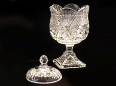 Crystal Pineapple Footed Votive Candy Bowl with cover