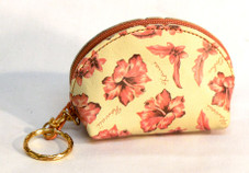 Hawaiian Hibiscus Leather key ring coin purse