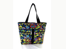 Deluxe fish print tote with four outside pockets