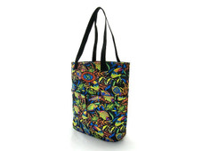 Medium fish print tote with two outside pockets