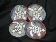 Raku Marine Dream Coaster - Honu set of 4