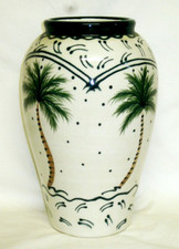 Ceramic Vase with Palm Tree design