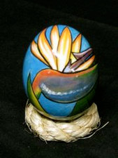 Hawaiian Bird Of Paradise Hand painted ceramic Egg - S