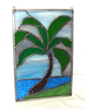 Hawaiian Palm Tree Stained Glass hanging