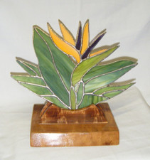 Hawaiian stained Glass Bird Of Paradise on wood base