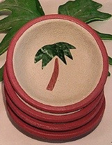 Terra Cotta Palm Tree coaster set