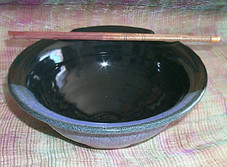 Raku fired Bowl with Chopsticks