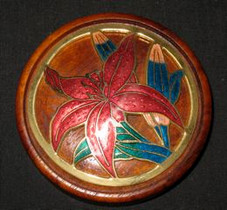 Koa Mirror with red Hibiscus