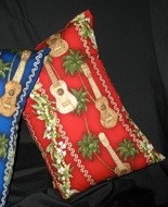 Travel Pillow Red Ukulele Print