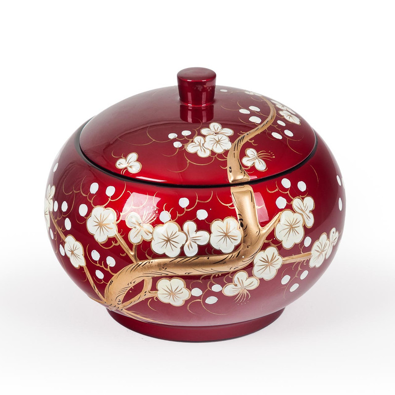 Red Lacquer Oriental Storage Bowl Cherry Blossom Design