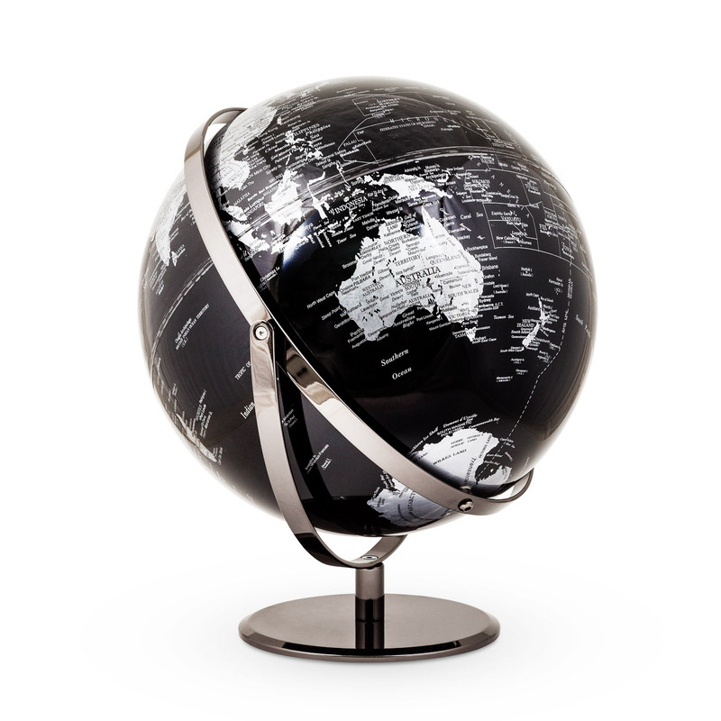 World Globe Black and Silver
