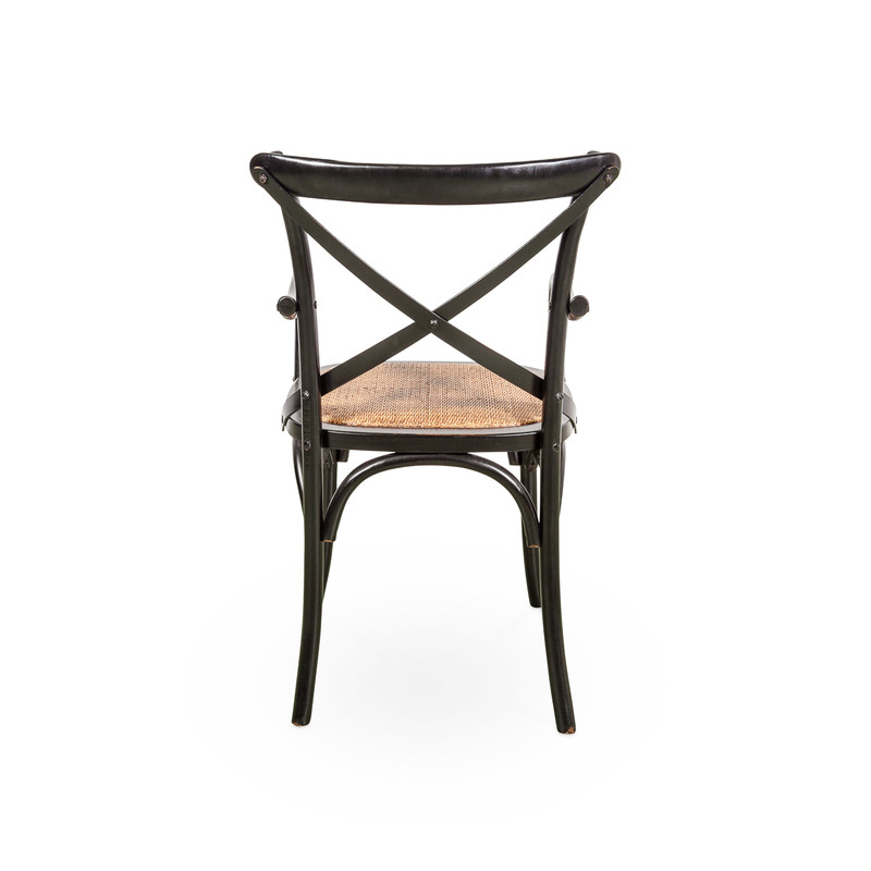 Crossback Dining Chair with Rattan Seat