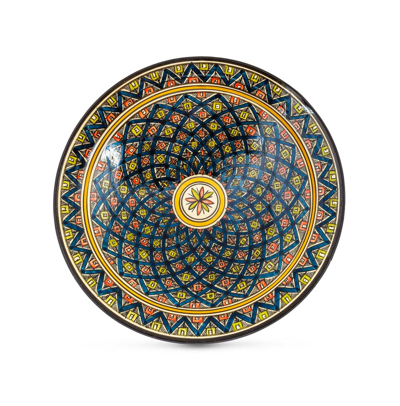 Moroccan Ceramic Bowl Blue 33cm