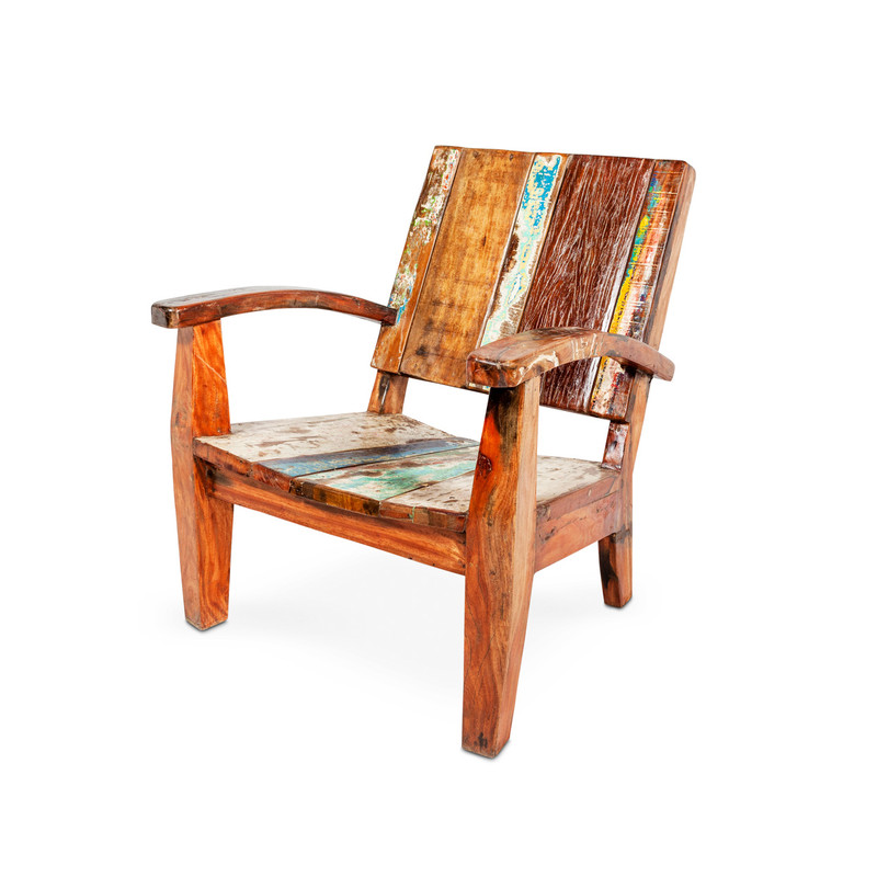 recycled timber outdoor deck chair