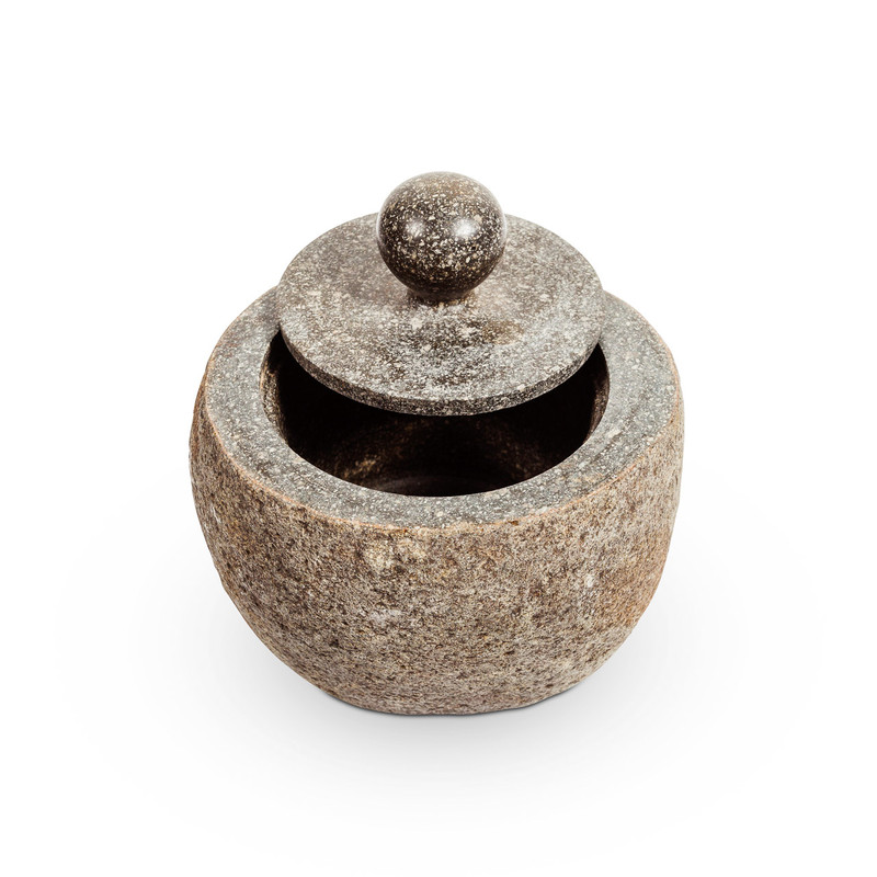 Natural Stone Storage Bowl with Lid