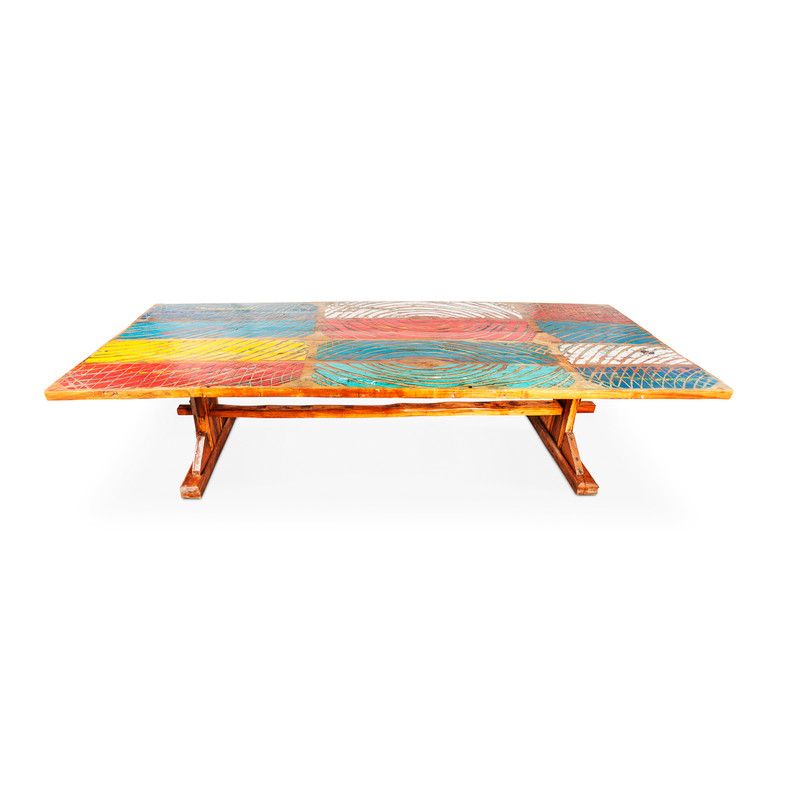 large recycled boat timber table