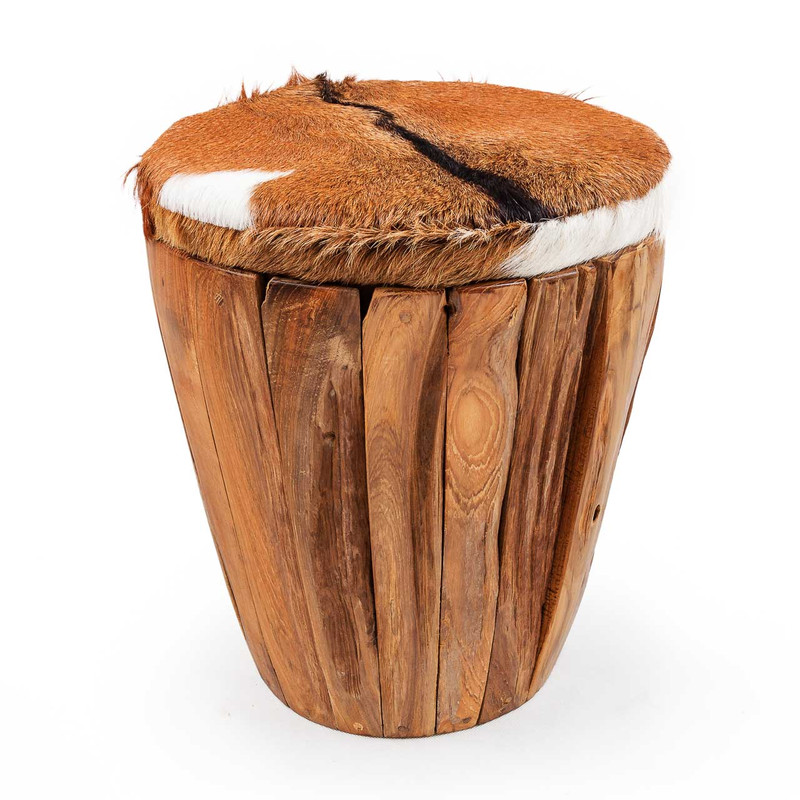 Goat Hide Storage Stool