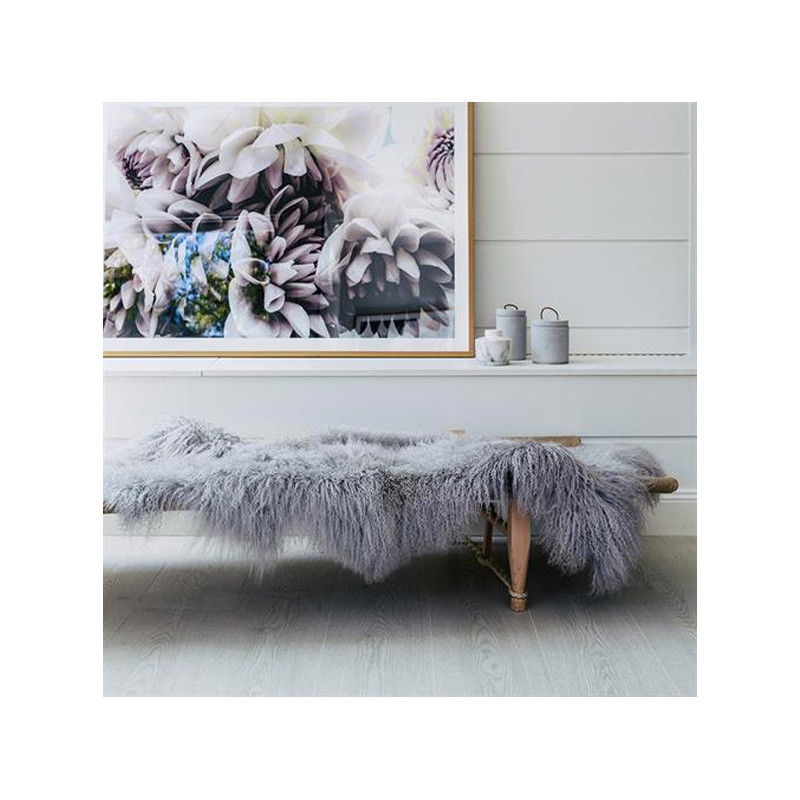 Mongolian Sheepskin Throw Rug Light Grey