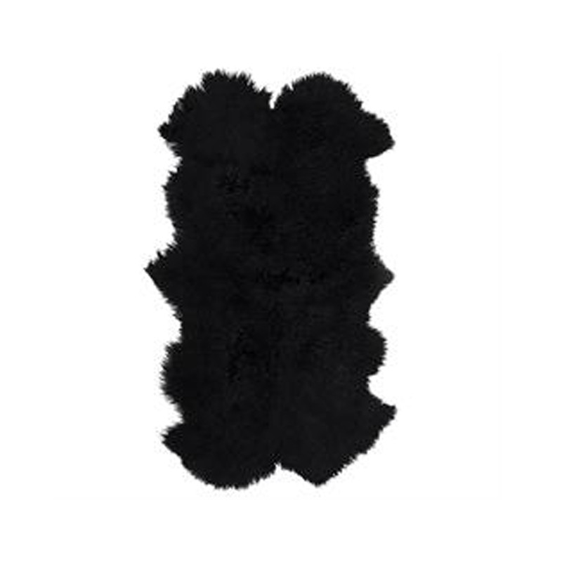Mongolian Sheepskin Throw Rug Black