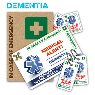 DEMENTIA ICEcard Pack - 1 Card with 2 Key Rings, 2 Stickers and a gift sleeve