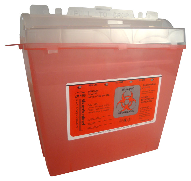 sharp disposal. 5 quart bemis sharps container model #175-030 sharp disposal s