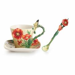 Cup/Saucer, Van Gogh Poppy Flower