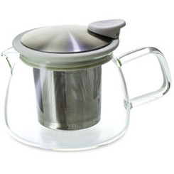 Teapot, Glass Bell 14oz (White)