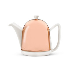 Teapot, 34 FL.OZ. Ceramic/  Copper Spring White Manto