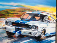 The GT 350.  The featured marque at the 2015 Rolex Monterey Historics.  This was painted live at Mazda Laguna Seca Raceway.  Signed and numbered limited edition print.