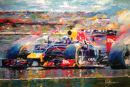 Daniel Ricciardo's terrific run in the RedBull F1 car! From an original acrylic palette knife.