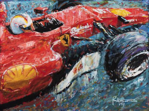 "Sebastian Vettel in the 2017 Ferrari Formula 1 car. Acrylic-on-canvas, 40"" X 30"", comes in a black frame."