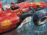"Sebastian Vettel in the 2017 Ferrari Formula 1 car. Acrylic-on-canvas, 40"" X 30"", comes in a black frame."