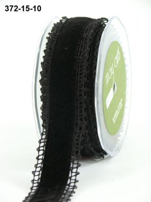 Crochet Lace/Velvet ribbon 20mm - black