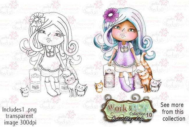 Milking Time with Kitten Digital Stamp - Work & Play 10 Digital Craft Download