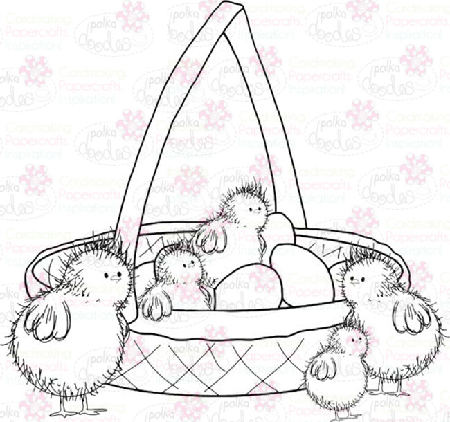 Chicks in a Basket Digital Stamp - Digital Craft Download