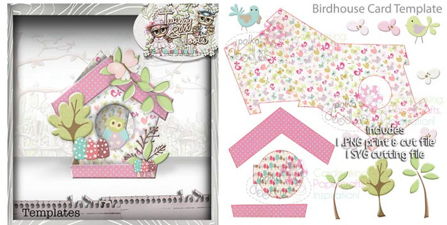 Birdhouse 2 Card template SVG Cutting file - Digital Craft Download