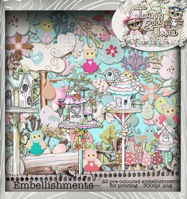 Twiggy & Toots Embellies bundle - Digital Craft Download