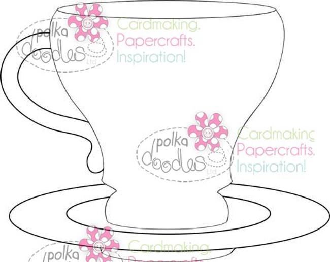 Teacup, coffee cup & saucer Digital Stamp Craft Download