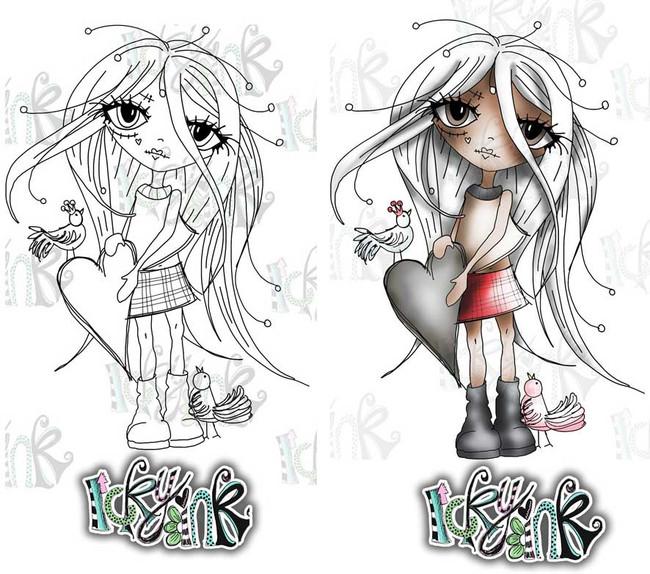 Oddella Heart - Ickyink Art alternative digistamp Craft Download