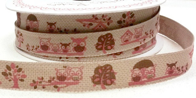 Forest Friends - Owls ribbon x 1 m