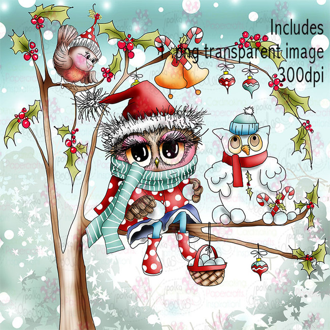 Snow Owls - Twiggy & Toots - Digital Craft Stamp Download