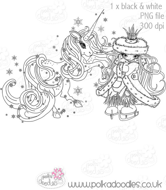 Ice Queen Unicorn - Octavia Frosted Winter - Digital CRAFT STAMP Download