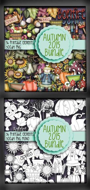 Autumn/Fall digi stamps - MONO & COLOUR - digital download bundle