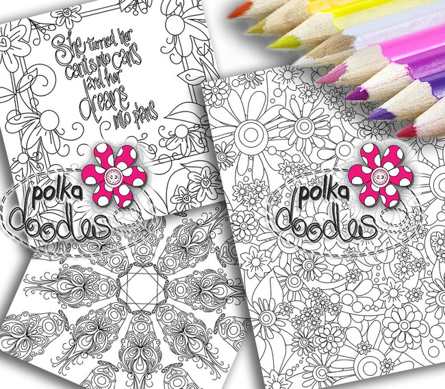 Adult Colouring pages bundle 8 - Downloadable Adult printable Colouring Book Pages