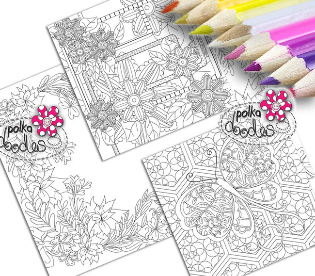Adult Colouring pages bundle 16 - Downloadable Adult printable Colouring Book Pages