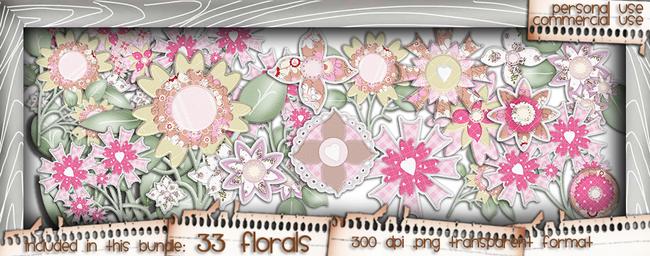 Love/Romance Love & Kisses Florals bundle - download printable digital stamp