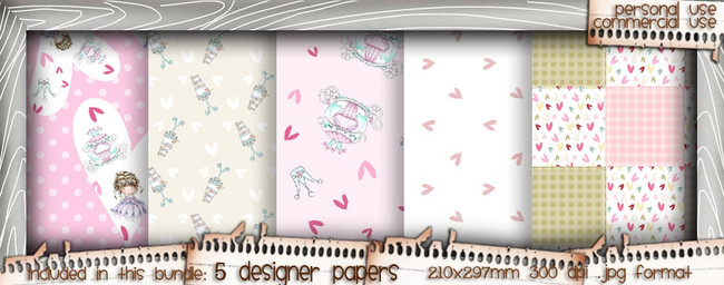 Love/Romance Love & Kisses paper bundle 3 - download printable digital stamp