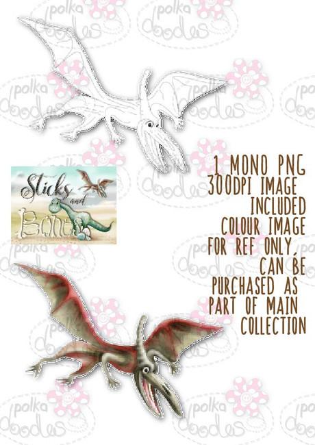 Sticks & Bones - Dinosaur Pterodactyl - Digital Stamp CRAFT Download