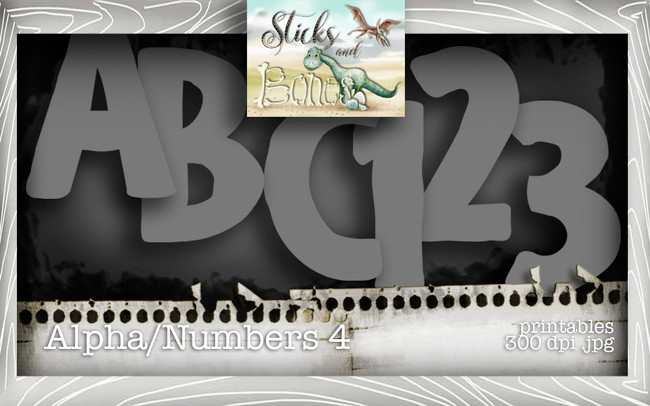 Sticks & Bones - Alphabet 4 - Digital Stamp CRAFT Download
